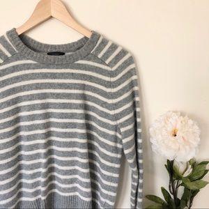 J. Crew | 100% Wool Striped Crew Neck Sweater